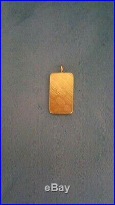True vintage 24k CREDIT SUISSE 20g FINE GOLD 999.9 Bar Pendant LOW SERIAL NUMBER