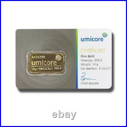 Umicore Fine Gold Bullion Ingot Bar 10 grams Finesse 999.9 LBMA Good Delivery