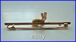 VINTAGE 9ct GOLD RABBIT / HARE BAR BROOCH WITH RUBY EYE & ANTIQUE BOX STOCK PIN