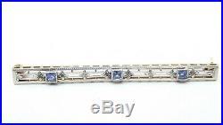 VTG 14k Gold Blue Sapphire Pin Bar Brooch Victorian Filigree Floral Estate White