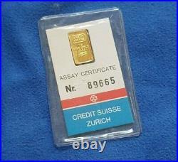 Valcambi Credit Suisse 1 Gram Gold Bar. 9999 Fine Sealed In Assay