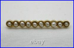 Very Pretty Antique 14ct Gold And Pearl Bar Brooch