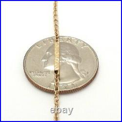 Victorian 10k Gold Cable Etched Bar Link Pendant Chain Necklace 17 Inch