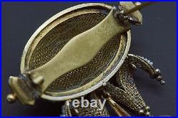 Victorian 14k Yellow Gold Round Seed Pearl Dangle Drop Brooch Bar Pin