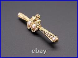 Victorian 14k Yellow Gold Round Seed Pearl Heart Crown Irish Brooch Bar Pin
