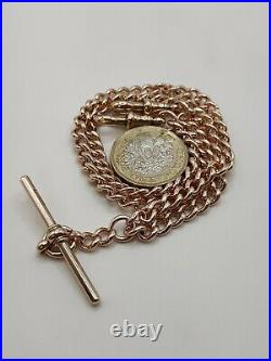 Victorian 9ct Rose Gold Double Albert Pocket Watch Chain Necklace with T-bar