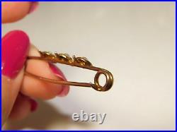 Victorian British Vintage 15ct Yellow Gold Bar Pin 3 Hearts Seed Pearls. 12i 15