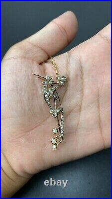 Victorian Gold and Seed Pearl Floral & Bird Bar Pin Brooch