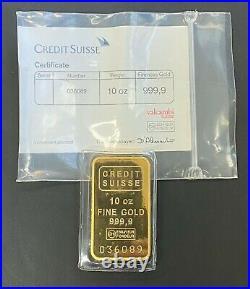 Vintage 10ozt Credit Suisse Gold Bar. 9999 Fine with Assay Card, Factory Sealed