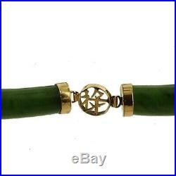 Vintage 14K Gold Asian Letters Nephrite Jade Bar Link Bracelet 7 1/4