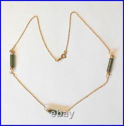 Vintage 14K Yellow Gold Jade Tube Bar & Bead Station Necklace 15