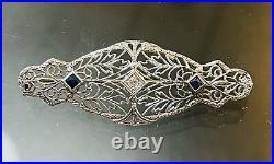 Vintage 14k White Gold Art Deco Diamond Sapphire Filigree Bar Brooch Pin 1.75