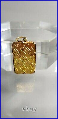 Vintage 14k Yellow Gold Credit Suisse 5 gram Fine Gold Bar Pendant Charm
