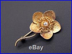 Vintage 14k Yellow Gold Round Cut Diamond Clover Flower Brooch Bar Pin