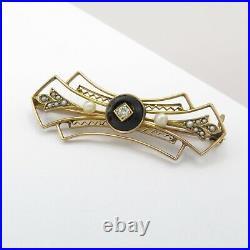 Vintage 1920s Art Deco 10k Gold Onyx Diamond Seed Pearl Filigree Bar Brooch Pin