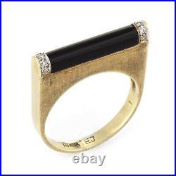 Vintage 70s Diamond Bar Ring Black Onyx 14k Yellow Gold Square Stacking Band