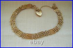 Vintage 9ct yellow gold four bar gate padlock bracelet. 375 5.42 grams