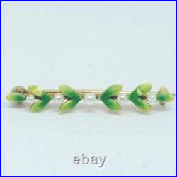 Vintage Art Deco 10k Yellow Gold Enamel Leaves Seed Pearl Small Bar Brooch Pin