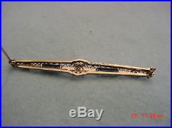 Vintage Art Deco 18K Gold Filigree Diamond Sapphire Bar Pin Brooch