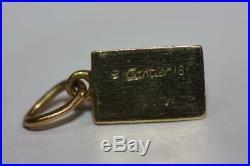 Vintage Cartier Solid 18K Yellow Gold 1/8 Oz Ingot Bar Pendant Rare Collectible