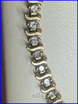 Vintage Estate 10k Gold Natural Diamond Bracelet S Curve Bar