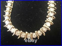 Vintage Estate 10k Gold Natural Diamond Bracelet S Curve Bar Tennis 8 Grams
