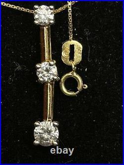 Vintage Estate 14k Yellow Gold Diamond Pendant 3 Linear Signed Chain 20