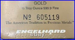 Vtg Engelhard 1/2 Troy Ounce. 9999 Fine Gold Bar Sealed Assay Card & Coa Rare