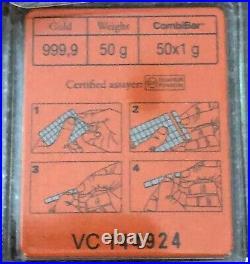 Wow Valcambi 50 Gram, 999.9 Fine Gold Combi Bar- Volume Pricing